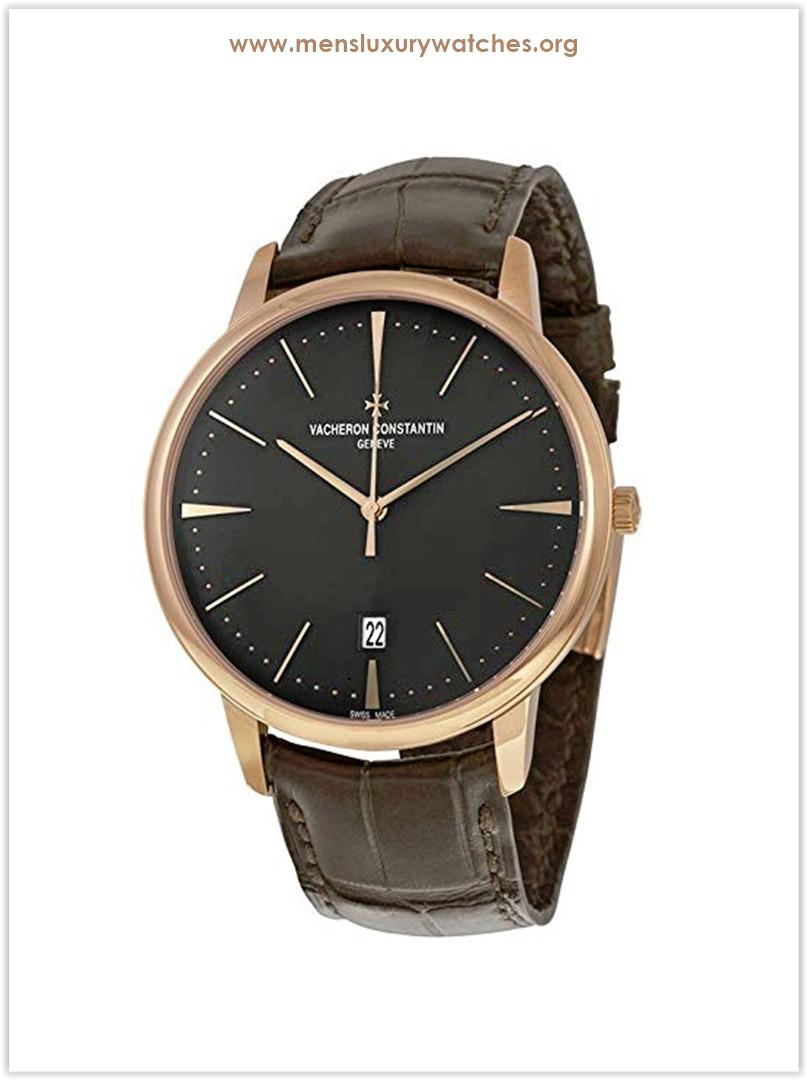 Vacheron Constantin Patrimony Slate Grey Dial Black Leather Men's Watch Price