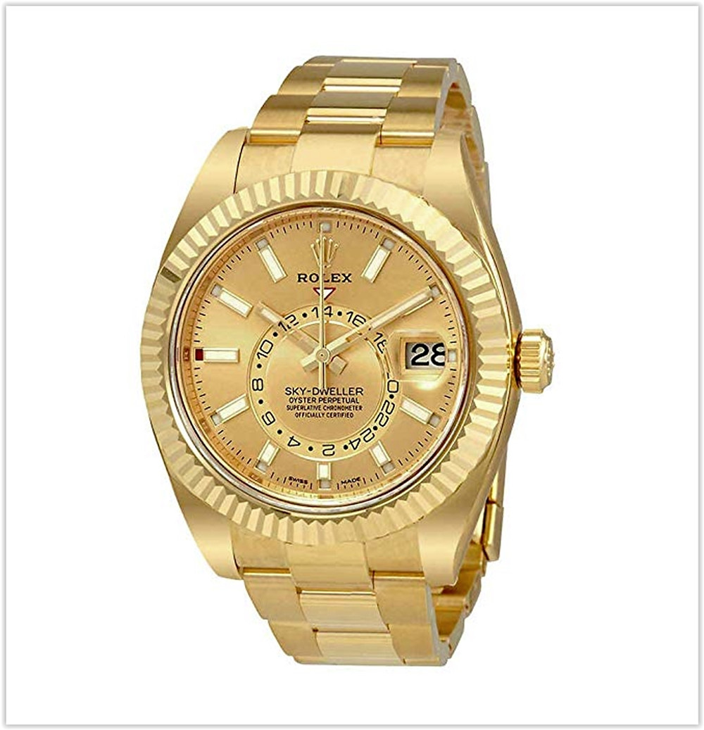 Rolex Sky-Dweller Champagne Dial Automatic Men's 18kt Yellow Gold Oyster Watch best price