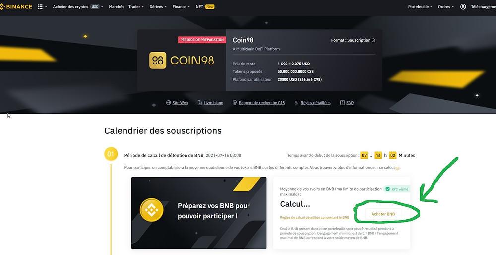 Comment acheter Coin98 (C98 Jeton) sur Binance
