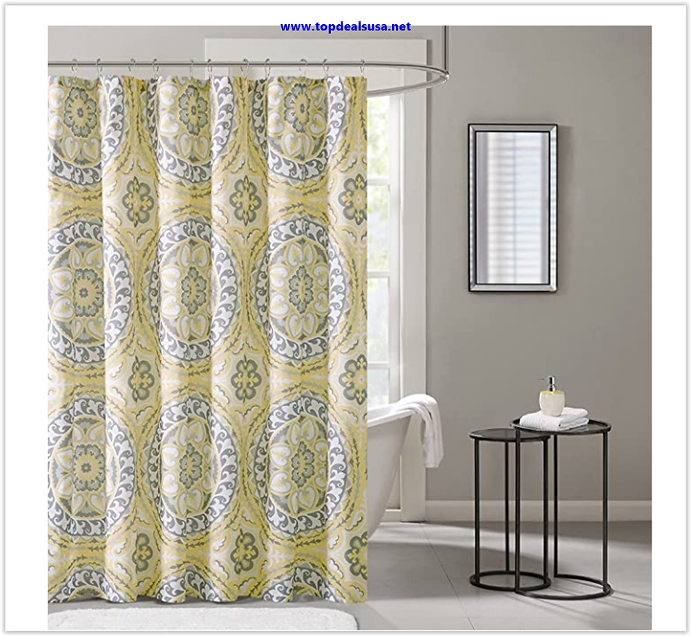 Best Buy Madison Park MPE70-157 Essentials Serenity Printed Shower Curtain 72x72 Yellow