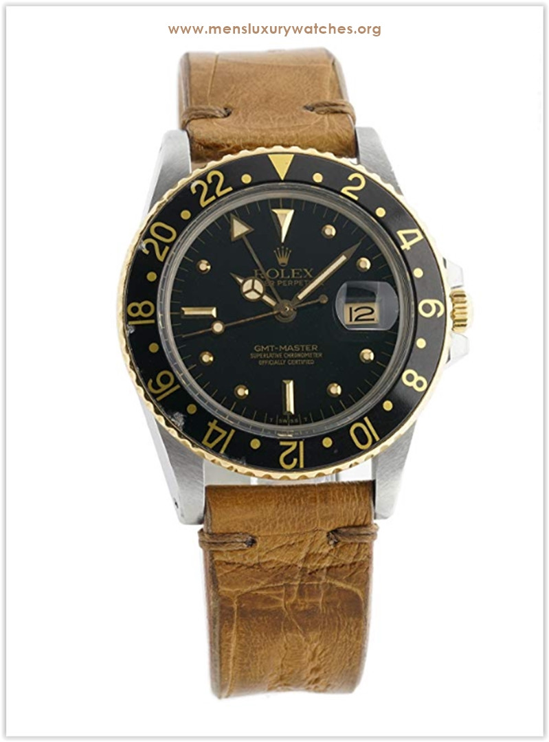 Rolex GMT Master II with 8 inches band yellow-gold bezel black dial Men's Watch the best price