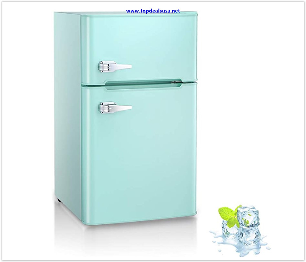3.2 Cu.ft Compact Double Door Refrigerator with Freezer