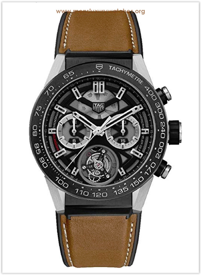TAG Heuer Carrera Titanium on Brown Calfskin Rubber Leather Strap Men's Watch Price