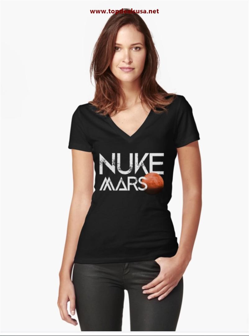 Nuke Mars Space Exploration Rocket Terraform Design Fitted V-Neck T-Shirt
