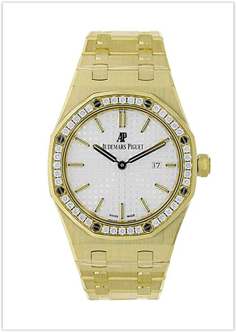 Audemars Piguet Royal Oak 33mm Diamond Bezel Watch White Dial Price