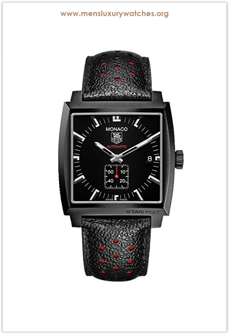 Tag Heuer Monaco Automatic Black Dial Black Leather Men's Watch Price