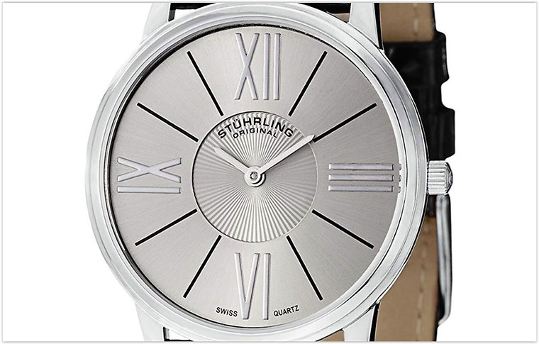 Stuhrling Men's Classic Ascot Solei Ultra Slim Grey Dial Watch