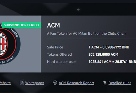 Binance and Chiliz offer, the ACM Milan token is listed here are the details (How to buy ACM Token?)
