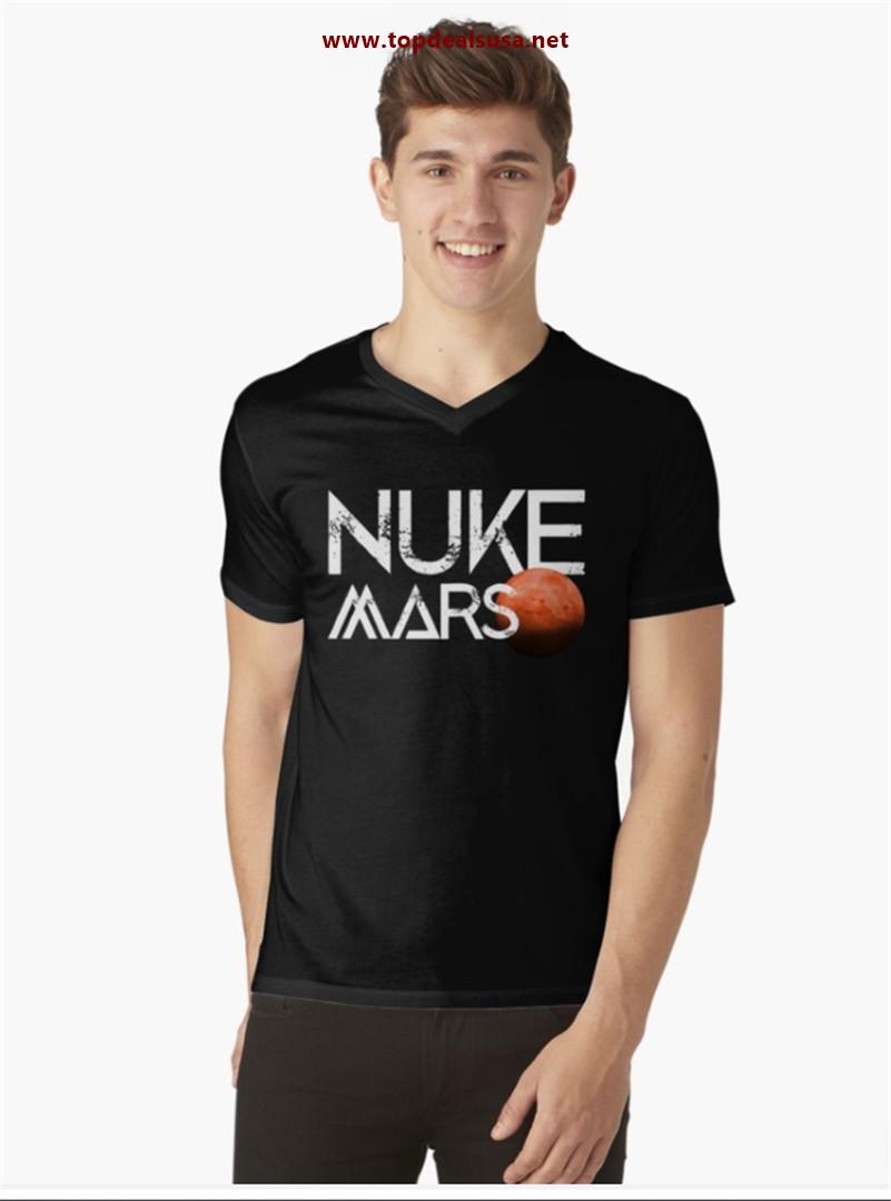 Nuke Mars Space Exploration Rocket Terraform Design V-Neck T-Shirt