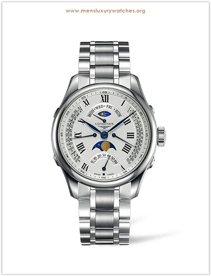 Longines Master Collection Stainless Steel White Dial Day Date Moon Phase Automatic Men's Watch