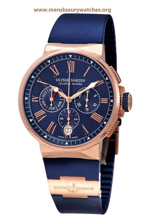 Ulysse Nardin Marine Automatic Chronograph Blue Dial 18kt Rose Gold Men's Watch 1532-150-343