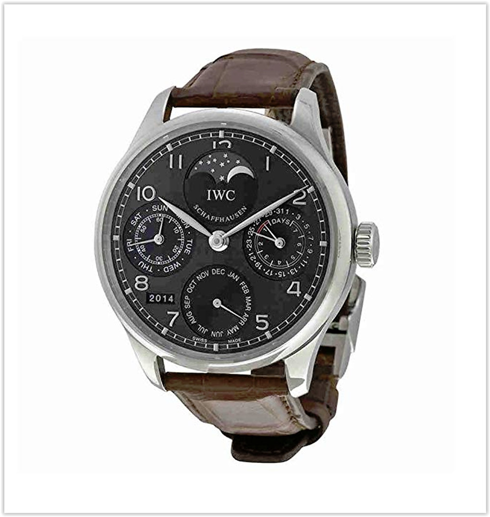 IWC Portuguese Automatic Grey Dial 18kt White Gold Brown Leather Men's Watch best price