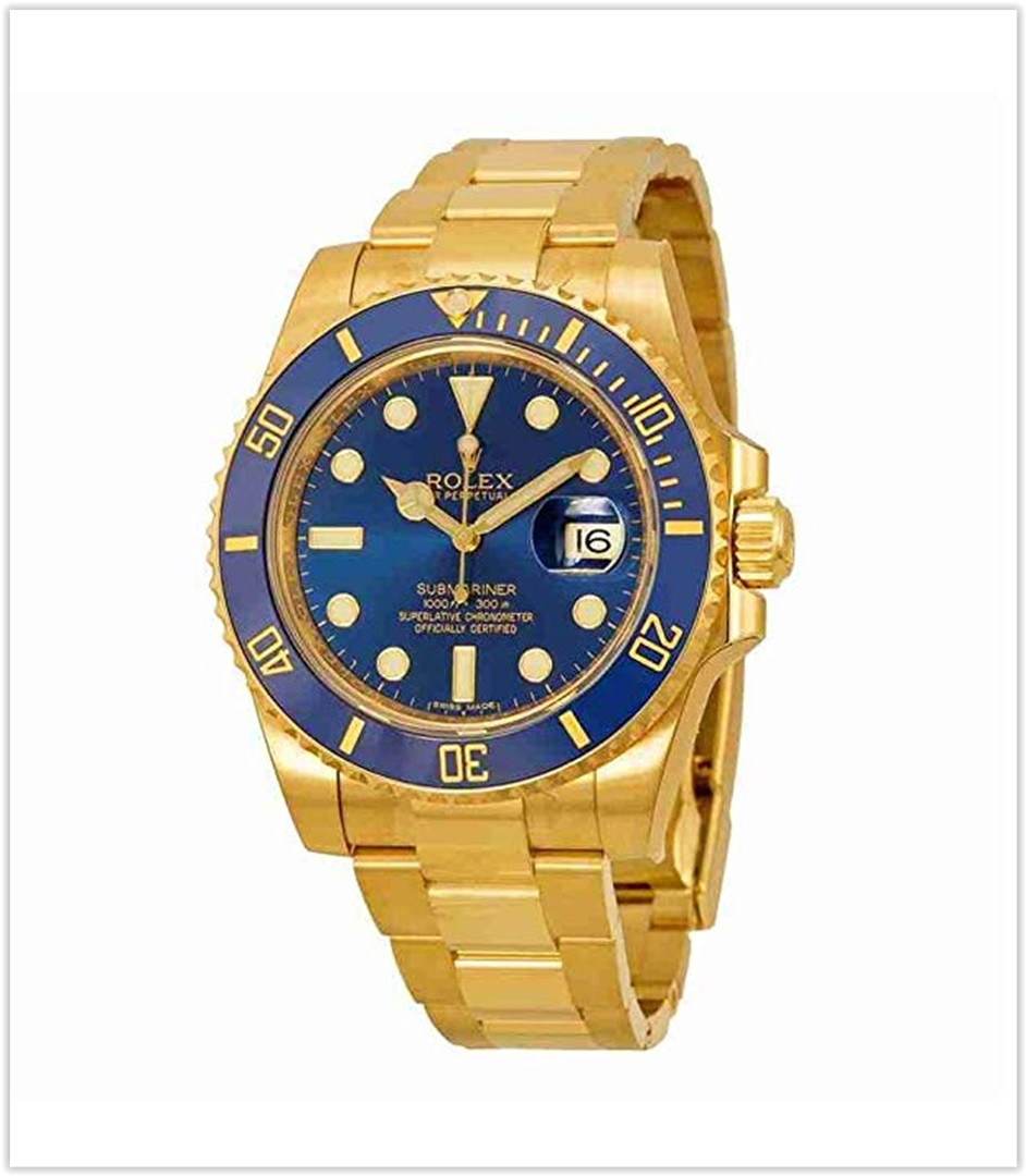 Rolex Submariner Blue Dial 18kt Yellow Gold Oyster Bracelet Men's Watch