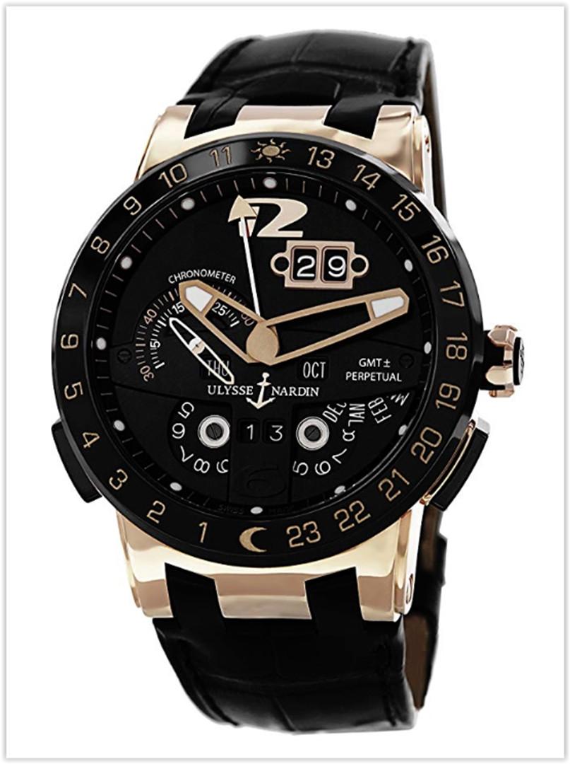 Ulysse Nardin El Toro Men's Black Leather Strap Automatic Perpetual Calendar Rose Gold Men's Watch price