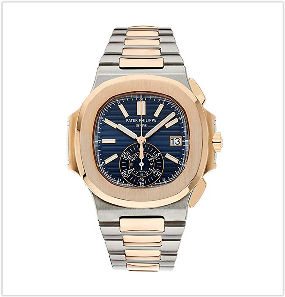 Patek Philippe Nautilus Stainless Steel & Rose Gold Watch Blue Dial