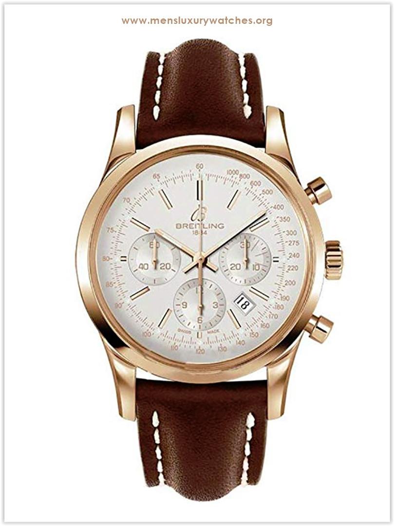 Breitling Transocean 18k Gold & Croc Chronograph Men's Watch