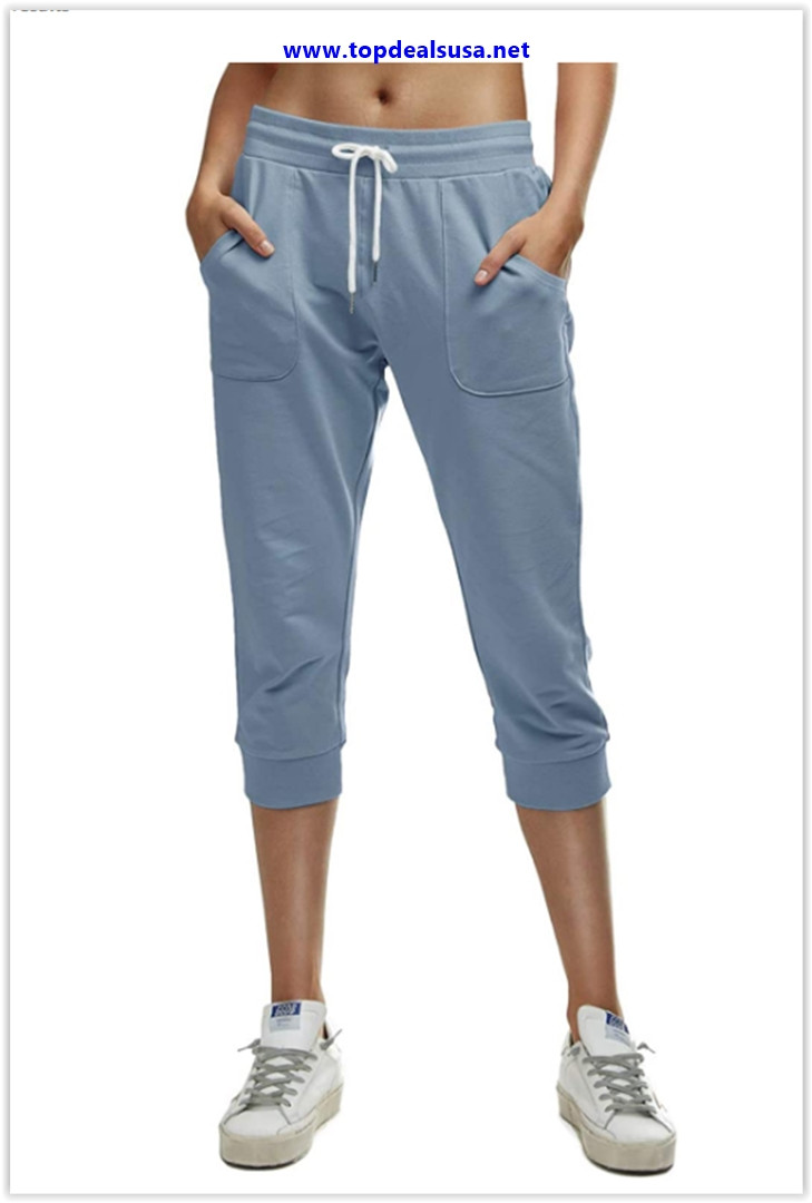 Best buy 7 GOALS Workout Capri Joggers for Women with Pockets French Terry Sweatpants Yoga Athletic Cropped Casual Pants