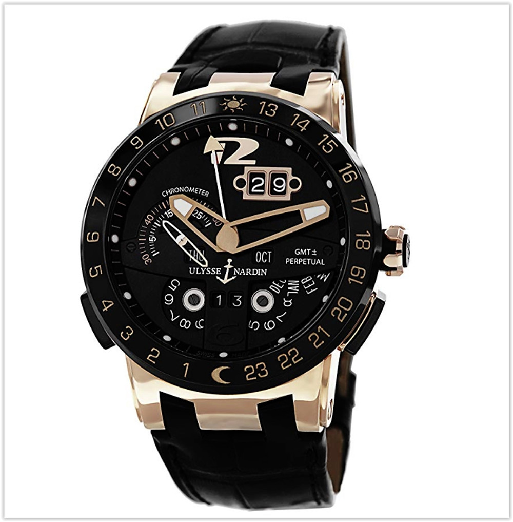 Black friday deals Ulysse Nardin El Toro Men's Black Leather Strap Automatic Perpetual Calendar Rose Gold Watch