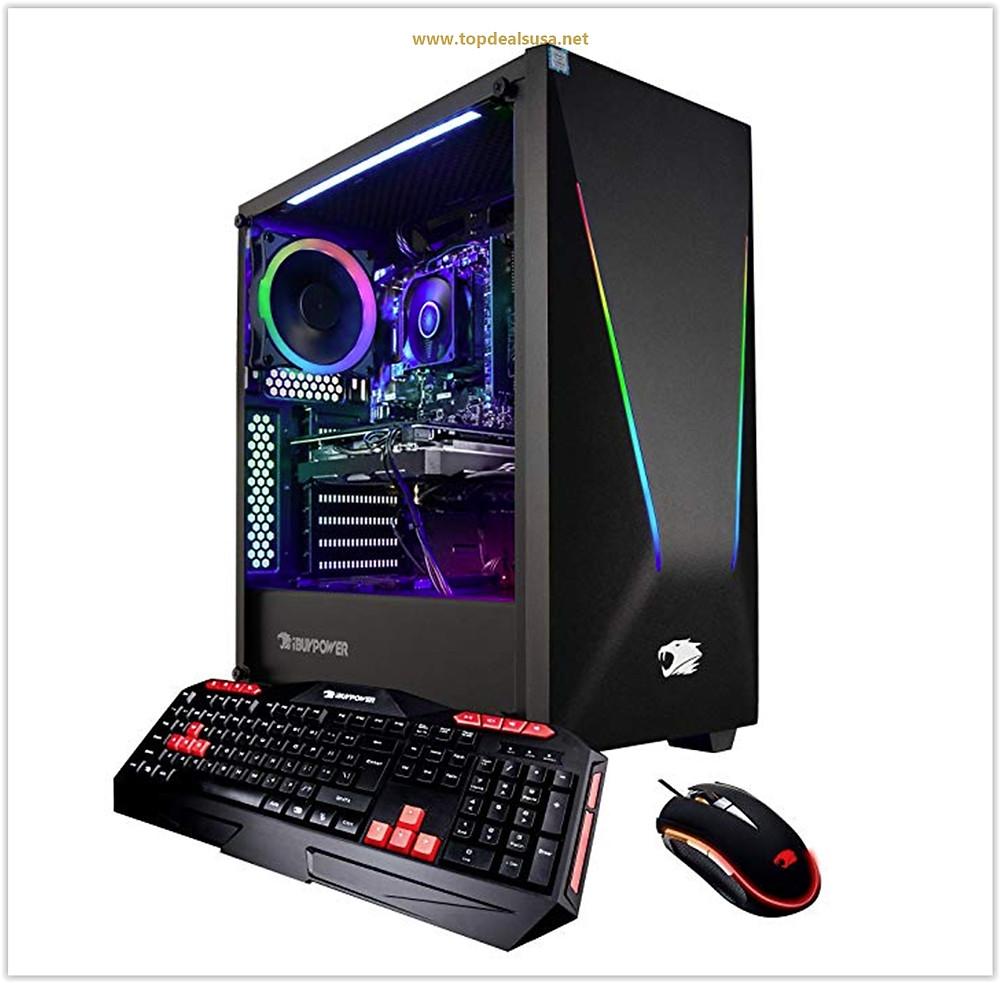 iBUYPOWER Elite Gaming PC Computer Desktop Trace PRO 9400 (AMD Ryzen 5 3600 6-Core 3.6GHz, NVIDIA Geforce GTX 1660 6GB, 8GB DDR4-2666 RAM, 1TB HDD, 240GB SSD, WiFi Included, Windows 10, VR Ready) Black
