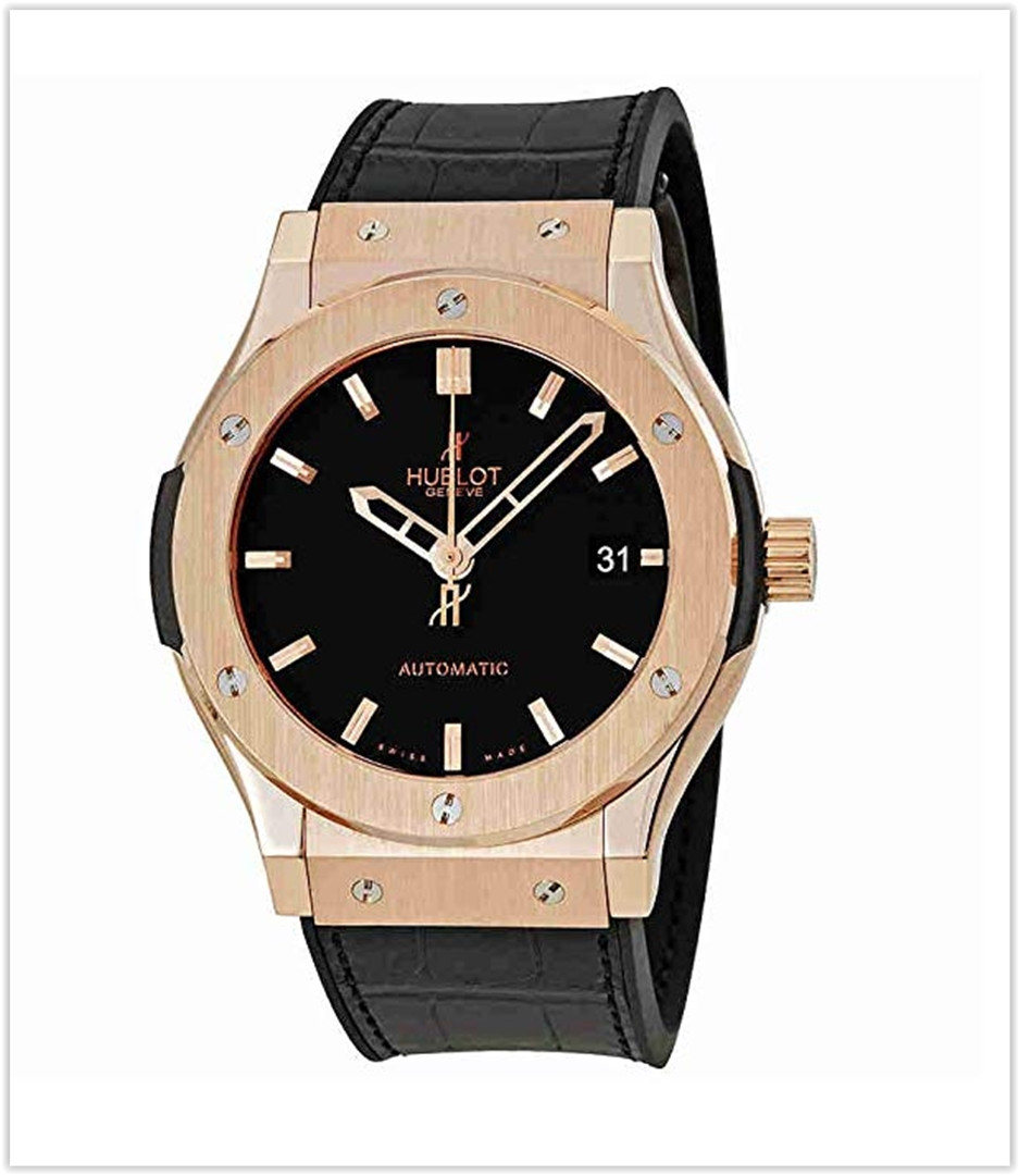 Hublot Classic Fusion 18kt Gold Black Dial Men's Watch