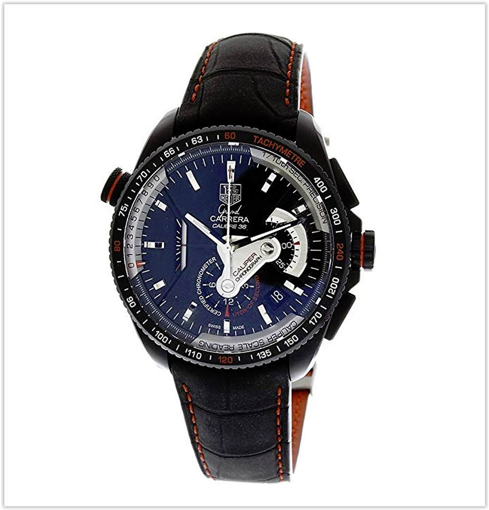 TAG Heuer Men's Grand Carrera Leather Strap Chronograph Black Dial Watch best price