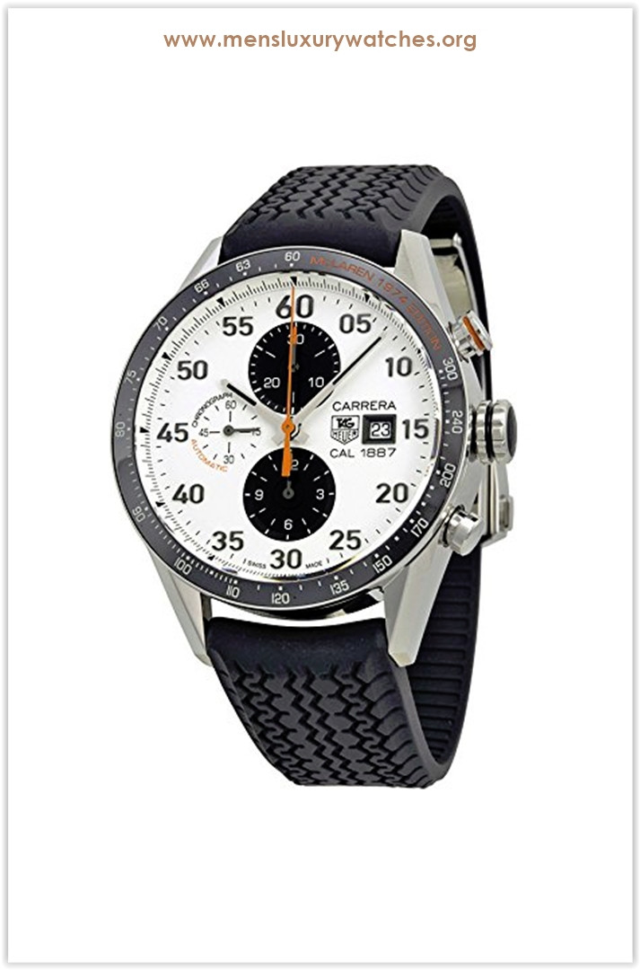 TAG Heuer Carrera Chronograph McLaren Mercedes Calibre White Dial Automatic Black Men's Watch Price