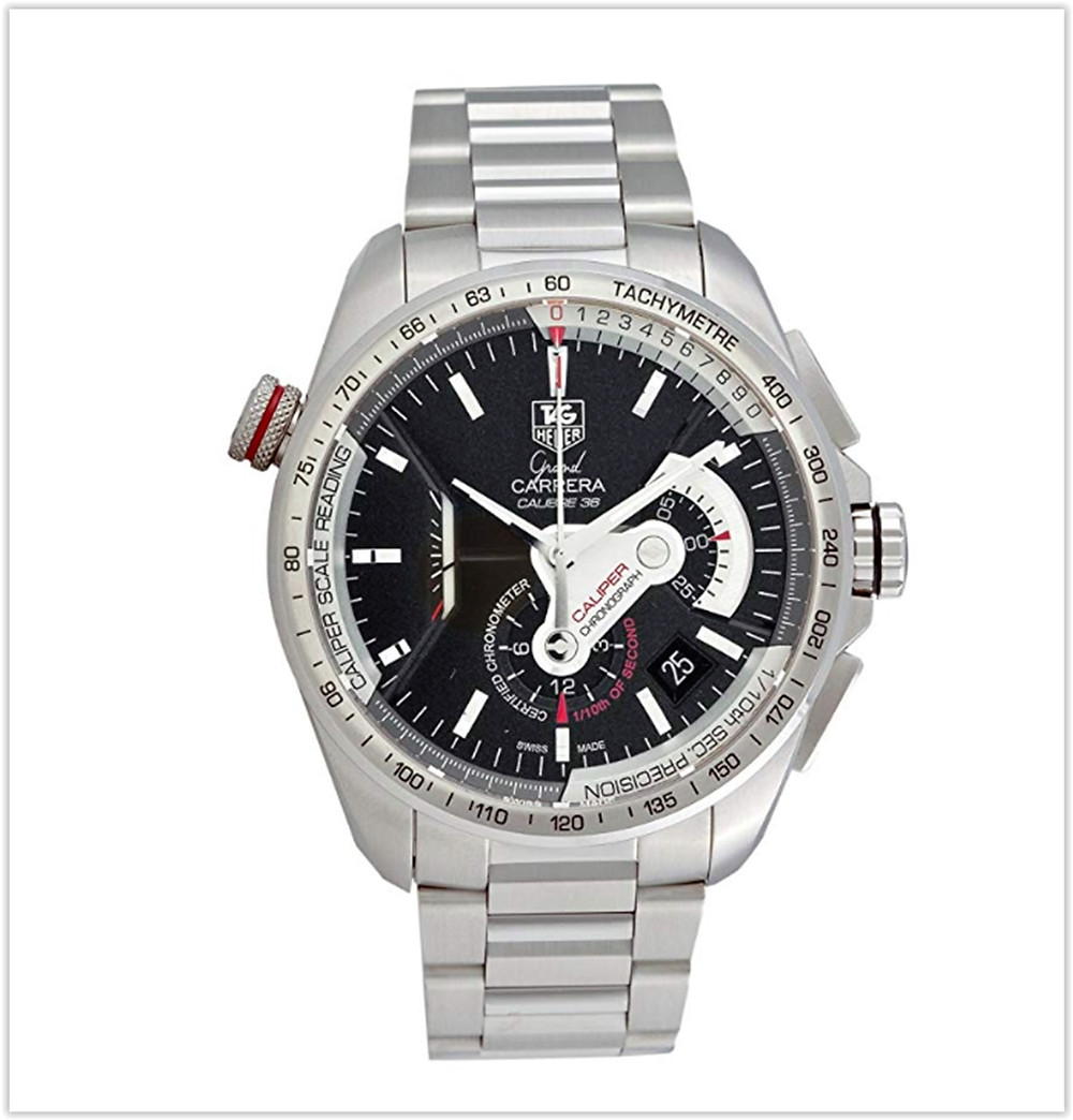 TAG Heuer Mens Grand Carrera Automatic Chronograph Black Dial Watch best price