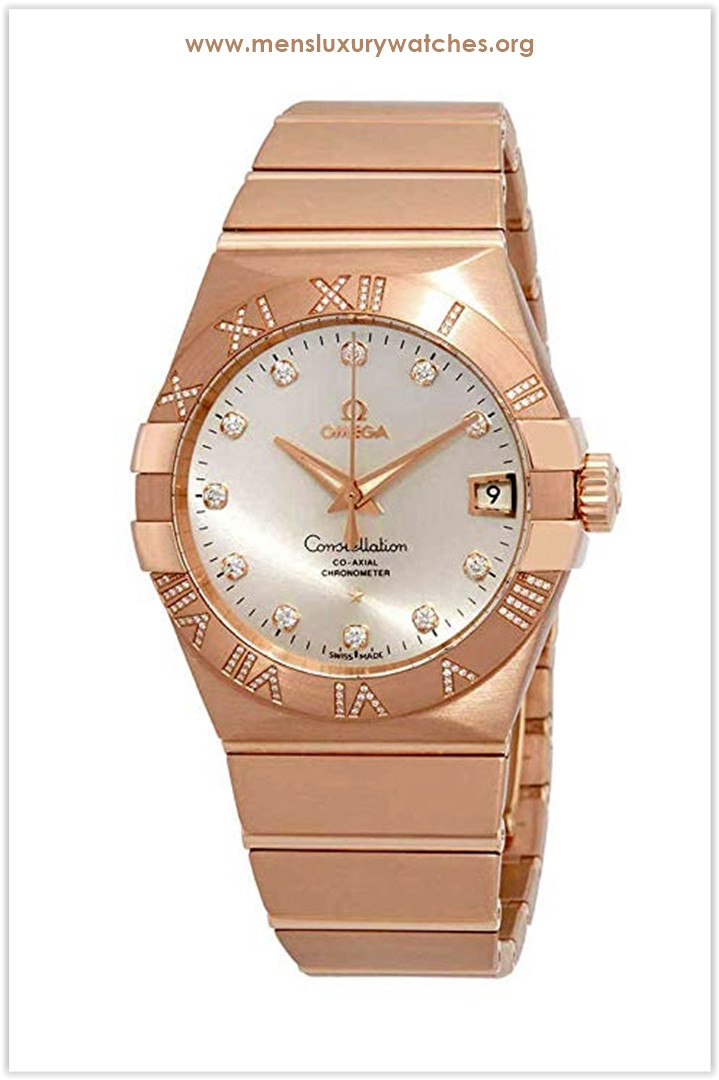 Omega Constellation Silver Dial Rose Gold Men's Watch Price
