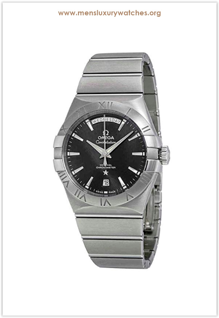 Omega Constellation Day Date Automatic Black Dial Stainless Steel Men's Watch Price