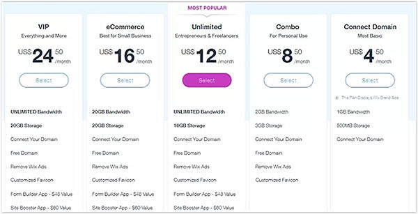 Liste de prix Wix