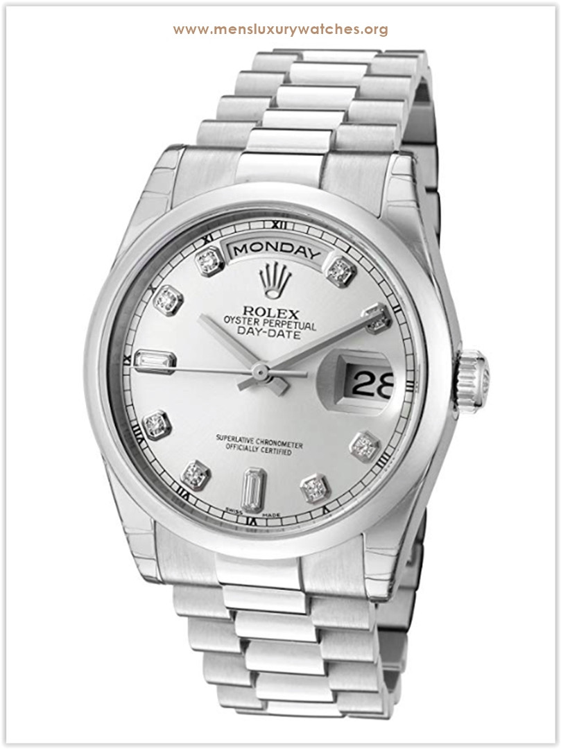 Rolex Day-Date Automatic White Diamond Silver Dial President Platinum Men's Watch