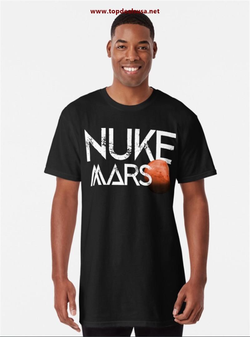 Nuke Mars Space Exploration Rocket Terraform Design Long T-Shirt