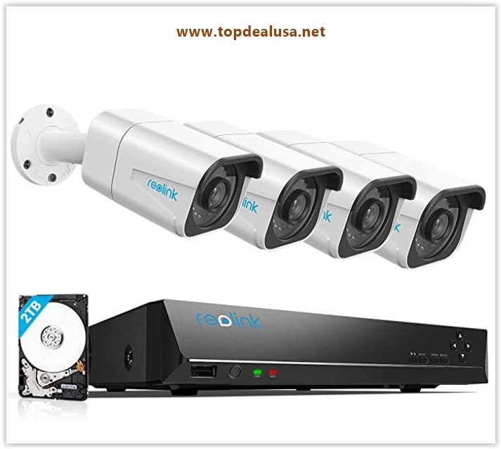 Reolink 4K PoE Security Camera System, 4pcs Wired 8MP Outdoor PoE IP Cameras