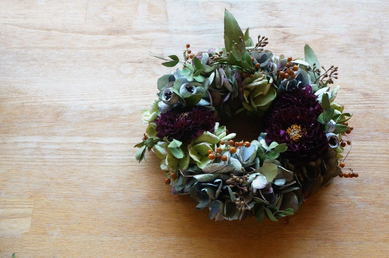 秋色紫陽花とダリア・秋