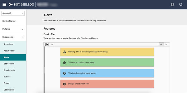 alerts component in the asset library