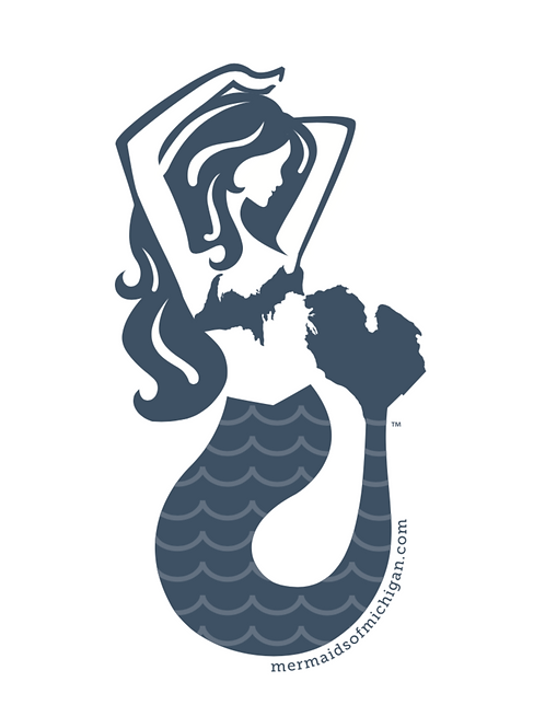 "Mermaids of Michigan Sticker Decal 3.33"" x 6"""