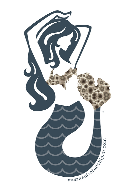 "Mermaids of Michigan Petoseky Stone Sticker Decal 3.33"" x 6"""