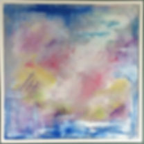 bespoke art, abstract, sky blue pink painting
