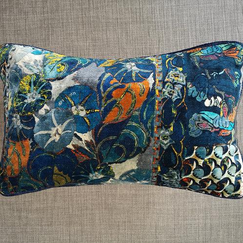 Navy Floral Velvet Cushion