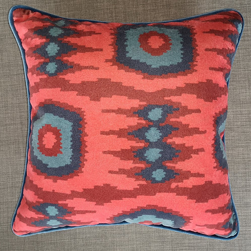 Red and Navy Printed Velvet Cushion