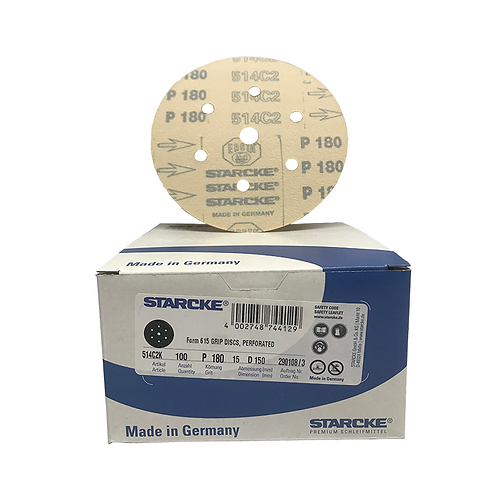 P180 - Starcke 150mm Gold Velcro Sanding Discs (Box of 100)