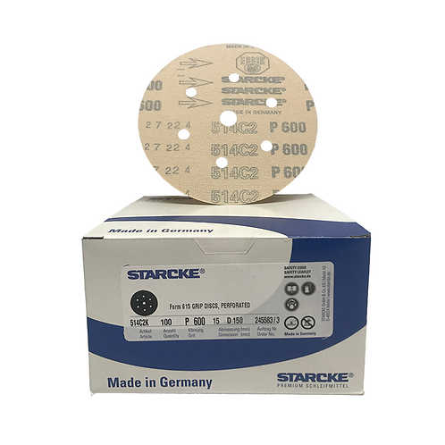 P600 - Starcke 150mm Gold Velcro Sanding Discs (Box of 100)