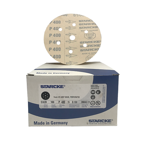 P400 - Starcke 150mm Gold Velcro Sanding Discs (Box of 100)
