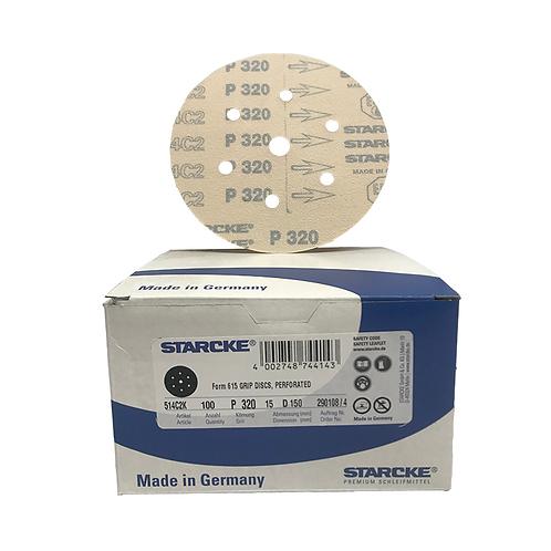 P320 - Starcke 150mm Gold Velcro Sanding Discs (Box of 100)