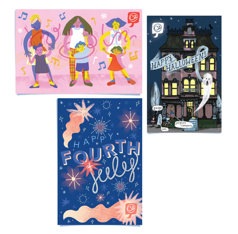 C3 Holiday Postcards - Mother's Day, Halloween, July 4th