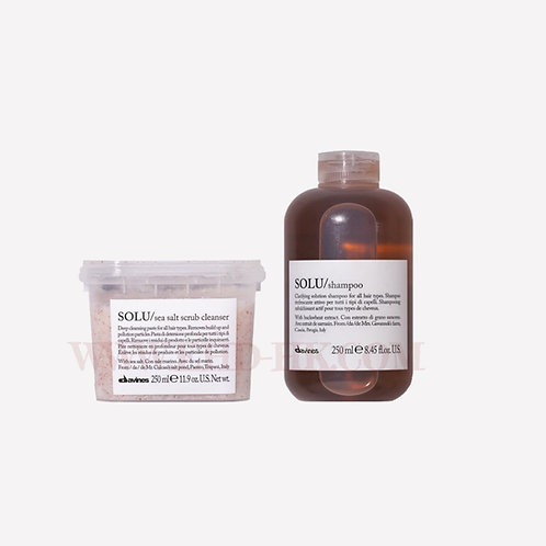 Davines Essential Hair Care Set - SOLU Sea Salt Scrub Cleanser & Shampoo | Davines (達芬妮斯) Essential Hair Care 套裝 - SOLU 深層潔淨套