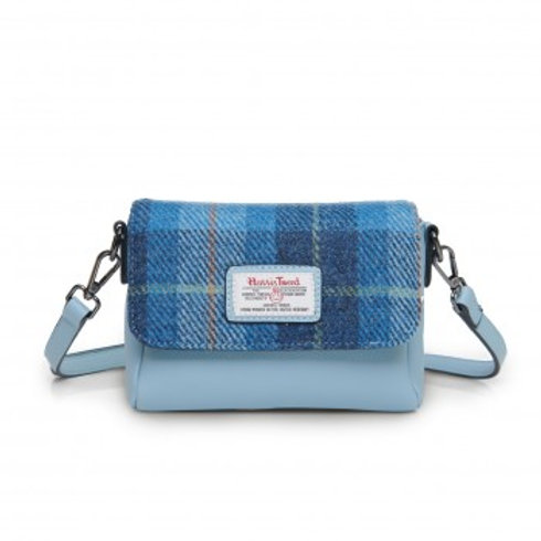 Harris Tweed Blue tartan mini purse