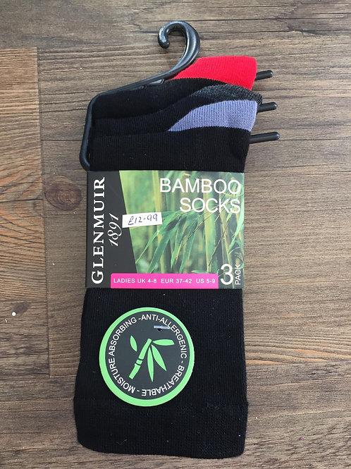 Glenmuir Ladies 3 pack black gentle grip socks