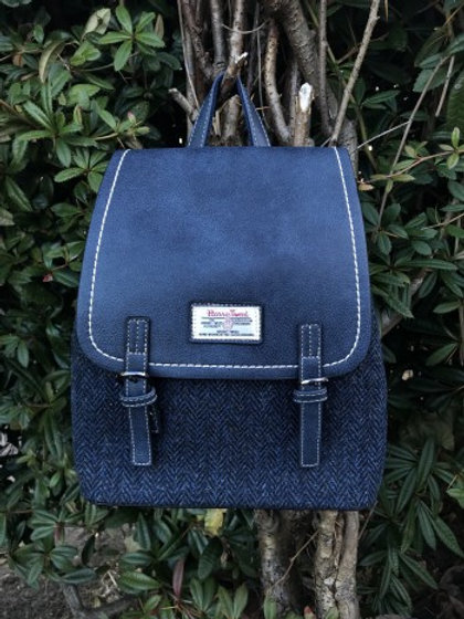 Harris Tweed Navy Herringbone Backpack