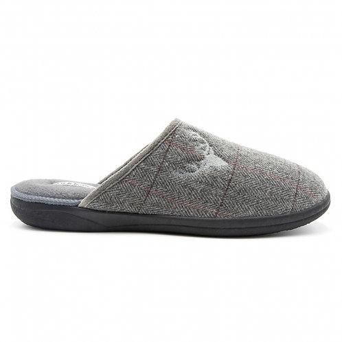 Padders Mens Stag Slip-on Slippers Grey